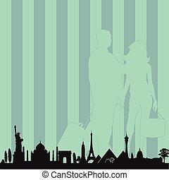 famoso, viaggiare, vettore, coppia, monumento