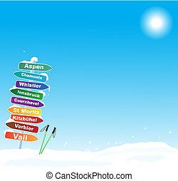 famoso, viaggio sci, illustrazione, destinazioni
