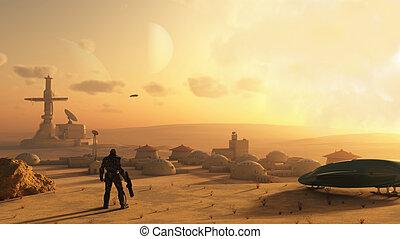 fantascienza, deserto, villaggio