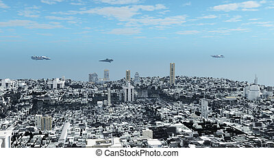 fantascienza, futuristico, città