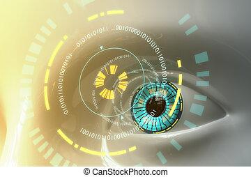 fantascienza, occhio, modello, artificiale, plastica