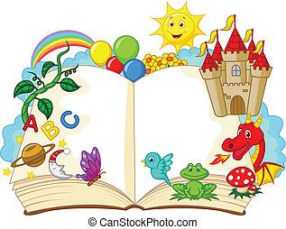 fantasia, cartone animato, libro