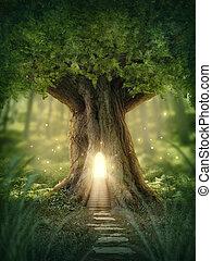 fantasia, casa, albero
