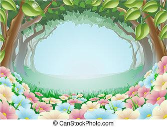 fantasia, foresta, scena