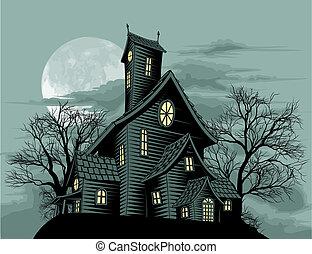 fantasma, casa, scena, strisciante, frequentato, illustrazione