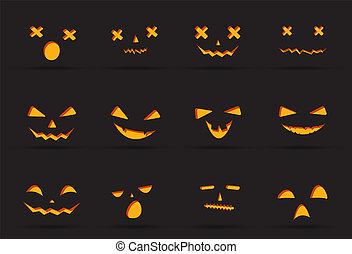 fantasma, diavolo, halloween, isolato, faccia, decorazione, fondo, azione, elemento, grido, felice