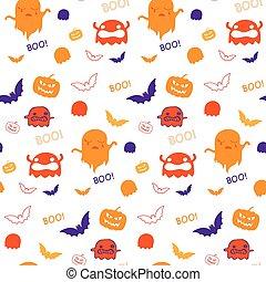fantasma, pipistrello, modello, halloween, seamless, vettore, fondo, zucca