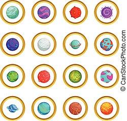 fantastico, cerchio, pianeti, icone