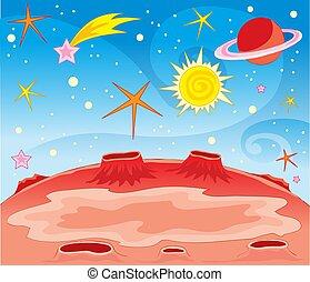 fantastico, illustrazione, galassie, pianeta, stelle, vettore, meteoriti, fondo