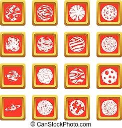 fantastico, set, pianeti, rosso, icone