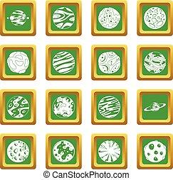 fantastico, set, verde, pianeti, icone