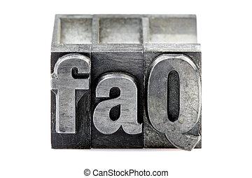 faq, letterpress