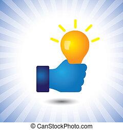 far male, affari, anche, genio, persona, abilità, vettore, &, creativo, graphic., lattina, intelligente, problemi, intelligente, illustrazione, borsa, idee, idea(bulb)-, rappresentare, concetto, risolvere