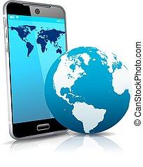 far male, cellula, telefono mobile, mondo, 3d