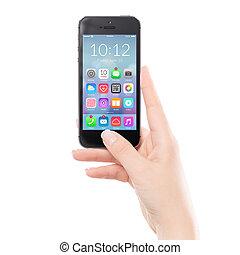 far male, colorito, mobile, nero, su, telefono, chiudere, domanda, icona