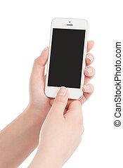 far male, mani, urgente, presa a terra, moderno, thumb., isolato, telefono, femmina, schermo, fondo., vuoto, bottone, bianco