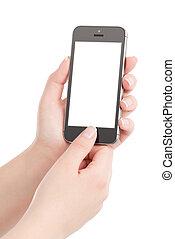 far male, mani, urgente, presa a terra, nero, moderno, thumb., isolato, telefono, femmina, schermo, fondo., vuoto, bottone, bianco