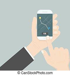 far male, navigazione, web, informazioni, mobile, screen., mano, concept., interfaccia, telefono, application., domanda, posizione, gps, disposizione, mappa