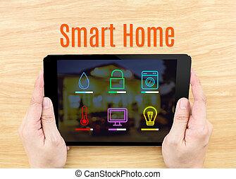 far male, scatto, affari, tastiera, dito, legno, internet, interfaccia, concept., domanda, schermo, tavola, casa