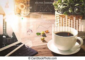 far male, stilo, filtro, caffè, digitale, tastiera, vaso, legno, erbe, tazza, tavola, bacino, penna, fiore, tavola, effetto