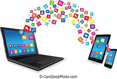 far male, tavoletta, apps, telefono, laptop, pc
