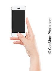far male, urgente, presa a terra, moderno, thumb., isolato, telefono, femmina, schermo, fondo., vuoto, mano, bottone, bianco