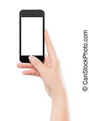 far male, urgente, presa a terra, nero, moderno, thumb., isolato, telefono, femmina, schermo, fondo., vuoto, mano, bottone, bianco