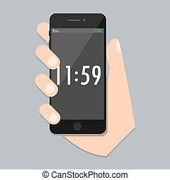 far male, web, tempo, app, mobile, screen., style., illustrazione, isolato, iphone, telefono, luogo, icona, sviluppo, vettore, trendy, braccio, appartamento