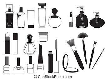 fare, cosmetico, collezione, su, prodotti, bianco, .vector