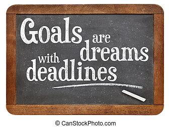 fare un sogno, mete, scadenze