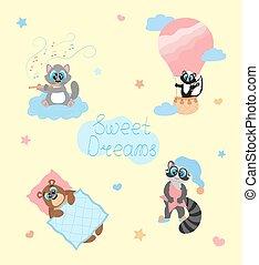 fare un sogno, sudore, cartone animato, vettore, colori, sorridente, illustrazione, carino, poster., nursery., caratteri, pastello, bambino, capretto, animals., stanza, set