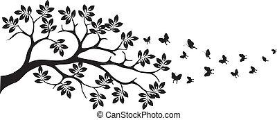 farfalla, albero, silhouette