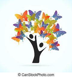 farfalla, albero