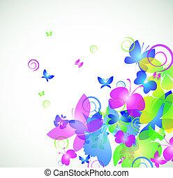 farfalla, astratto, colorito, fondo