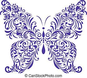 farfalla, astratto, floreale