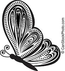 farfalla, astratto, vettore, illustrazione