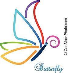 farfalla, astratto, vettore, multi-colore