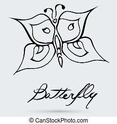 farfalla, astratto, vettore