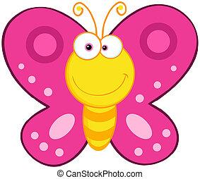 farfalla, carino, carattere, cartone animato