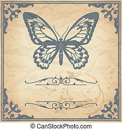 farfalla, carta, fondo, vinta