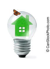 farfalla, collage, verde leggero, casa, bulbo, erba