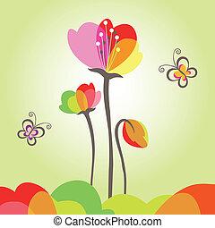farfalla, fiore, primavera, colorito