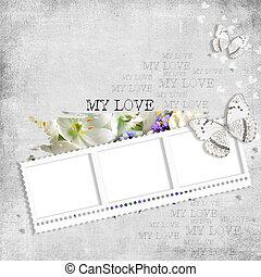 farfalla, fiori, retro, fondo, stamp-frame