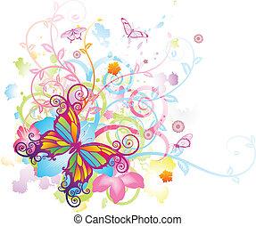 farfalla, floreale, astratto, fondo