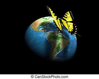 farfalla, globo terra