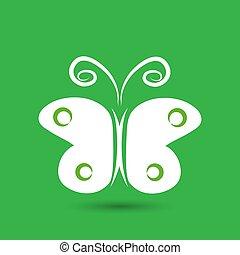 farfalla, icona, vettore