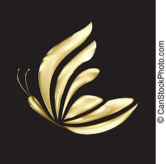 farfalla, logotipo, vettore, lusso, oro