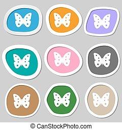 farfalla, segno, simbolo., variopinto, carta, insetto, vettore, icon., stickers.