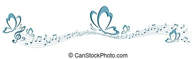 farfalla, simbolo, musica, note.
