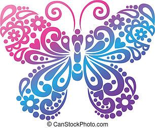 farfalla, swirly, vettore, silhouette